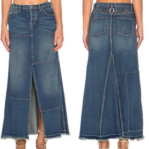 FREE PEOPLE 24 NWT Denim Deconstructed Maxi Skirt